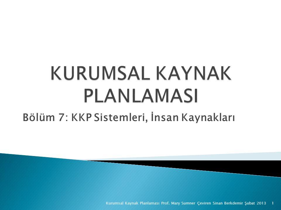 Bölüm 7: KKP Sistemleri, İnsan Kaynakları Kurumsal Kaynak Planlaması Prof.
