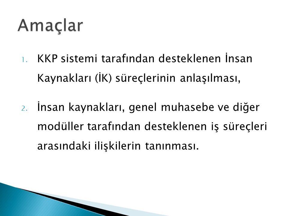 1. KKP sistemi tarafından desteklenen İnsan Kaynakları (İK) süreçlerinin anlaşılması, 2.