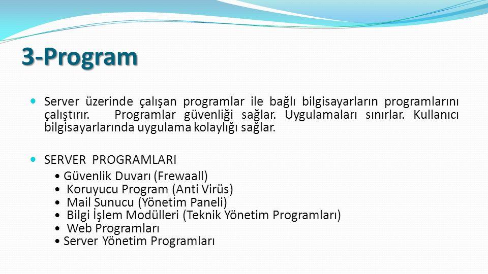 3-Program Server üzerinde çalışan programlar ile bağlı bilgisayarların programlarını çalıştırır.