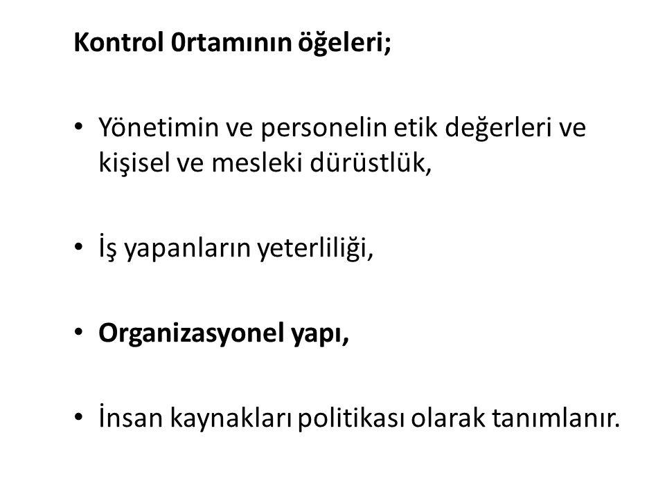 Kontrol 0rtamının öğeleri; Yönetimin ve personelin etik değerleri ve kişisel ve mesleki dürüstlük, İş yapanların yeterliliği, Organizasyonel yapı, İnsan kaynakları politikası olarak tanımlanır.