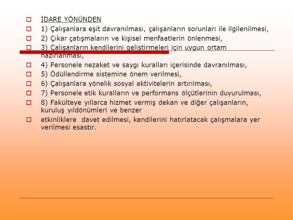  İDARE YÖNÜNDEN  1) Çalışanlara eşit davranılması, çalışanların sorunları ile ilgilenilmesi,  2) Çıkar çatışmaların ve kişisel menfaatlerin önlenme