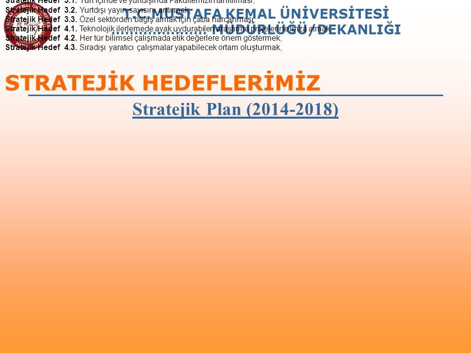 T.C.MUSTAFA KEMAL ÜNİVERSİTESİ ………………… MÜDÜRLÜĞÜ/DEKANLIĞI STRATEJİK HEDEFLERİMİZ Stratejik Plan (2014-2018) Stratejik Hedef 1.1.: Fakültemiz bölümler