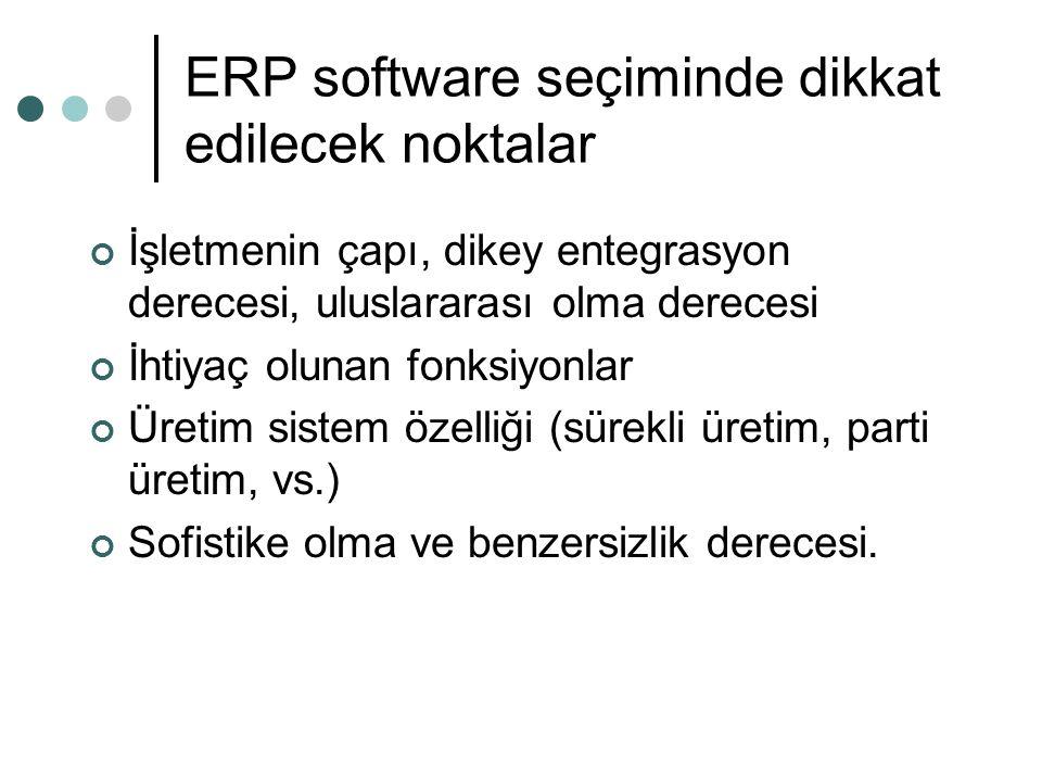 ERP software seçiminde dikkat edilecek noktalar İşletmenin çapı, dikey entegrasyon derecesi, uluslararası olma derecesi İhtiyaç olunan fonksiyonlar Üretim sistem özelliği (sürekli üretim, parti üretim, vs.) Sofistike olma ve benzersizlik derecesi.
