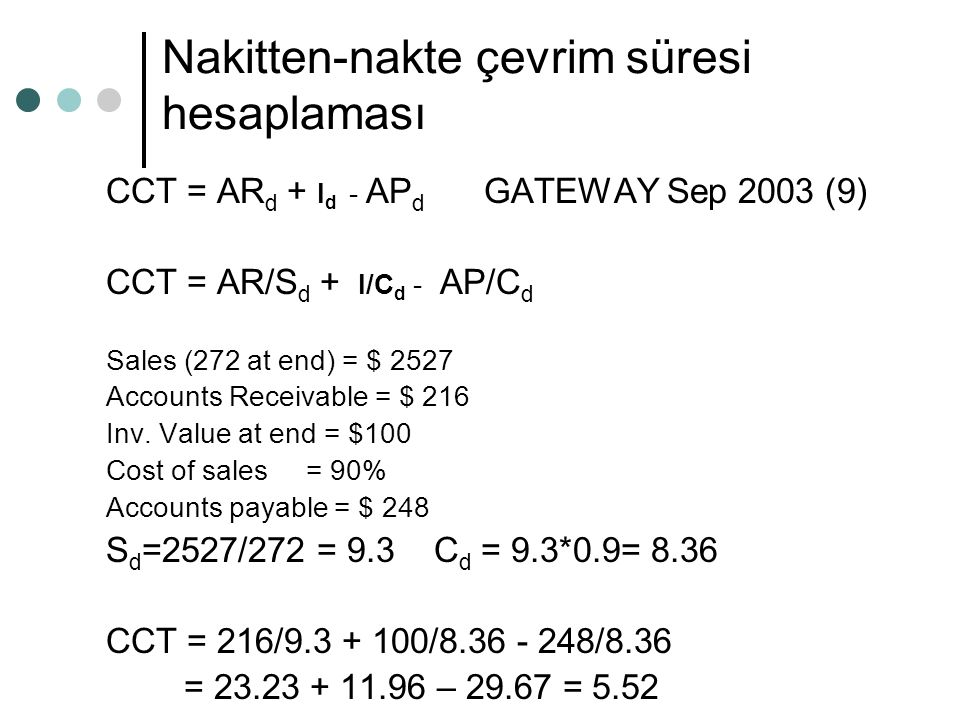 Nakitten-nakte çevrim süresi hesaplaması CCT = AR d + I d - AP d GATEWAY Sep 2003 (9) CCT = AR/S d + I/C d - AP/C d Sales (272 at end) = $ 2527 Accounts Receivable = $ 216 Inv.