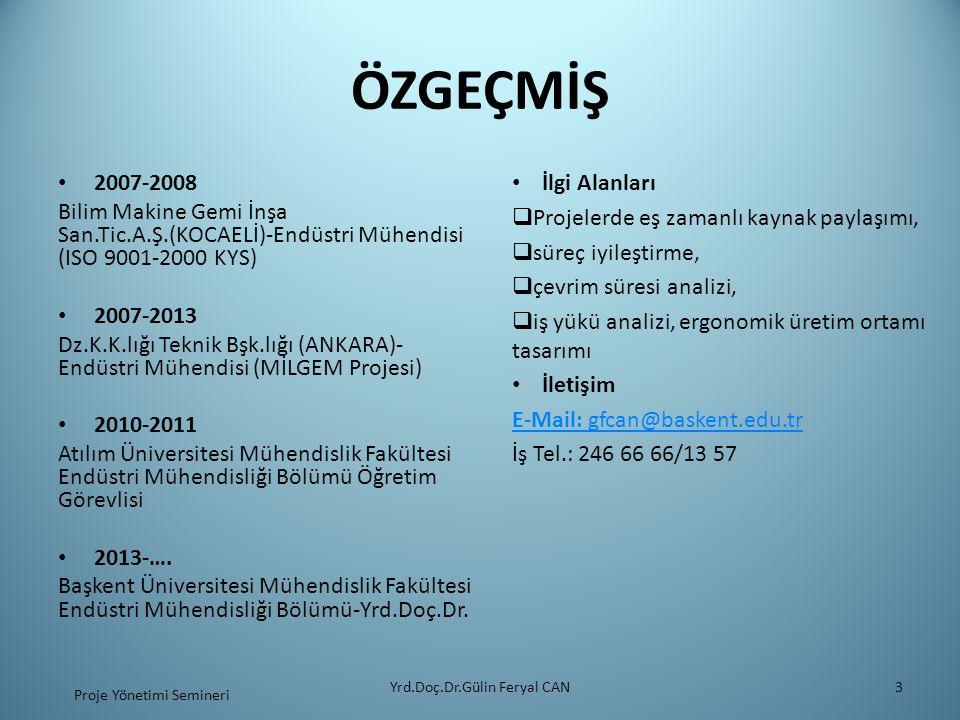 ÖZGEÇMİŞ 2007-2008 Bilim Makine Gemi İnşa San.Tic.A.Ş.(KOCAELİ)-Endüstri Mühendisi (ISO 9001-2000 KYS) 2007-2013 Dz.K.K.lığı Teknik Bşk.lığı (ANKARA)-