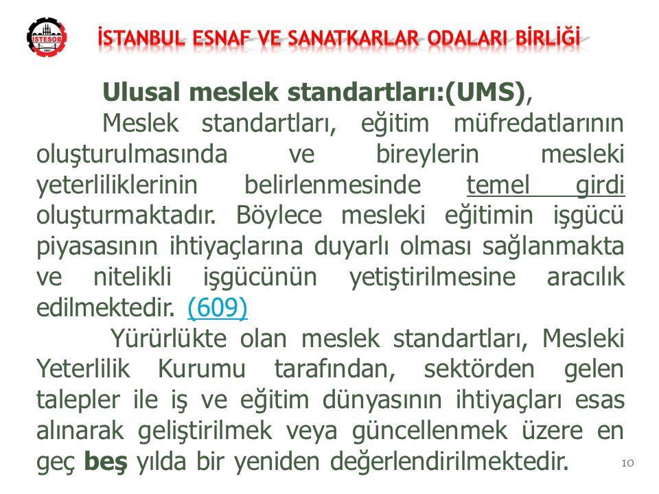 Ulusal meslek standartları:(UMS), Meslek standartları, eğitim müfredatlarının oluşturulmasında ve bireylerin mesleki yeterliliklerinin belirlenmesinde temel girdi oluşturmaktadır.