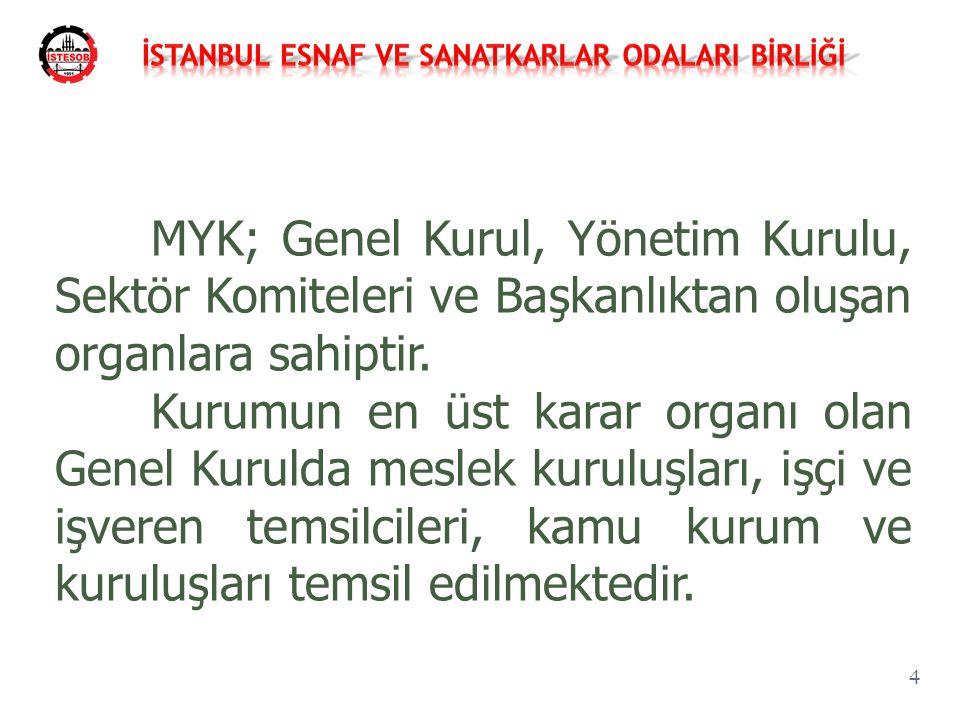 MYK; Genel Kurul, Yönetim Kurulu, Sektör Komiteleri ve Başkanlıktan oluşan organlara sahiptir. Kurumun en üst karar organı olan Genel Kurulda meslek k