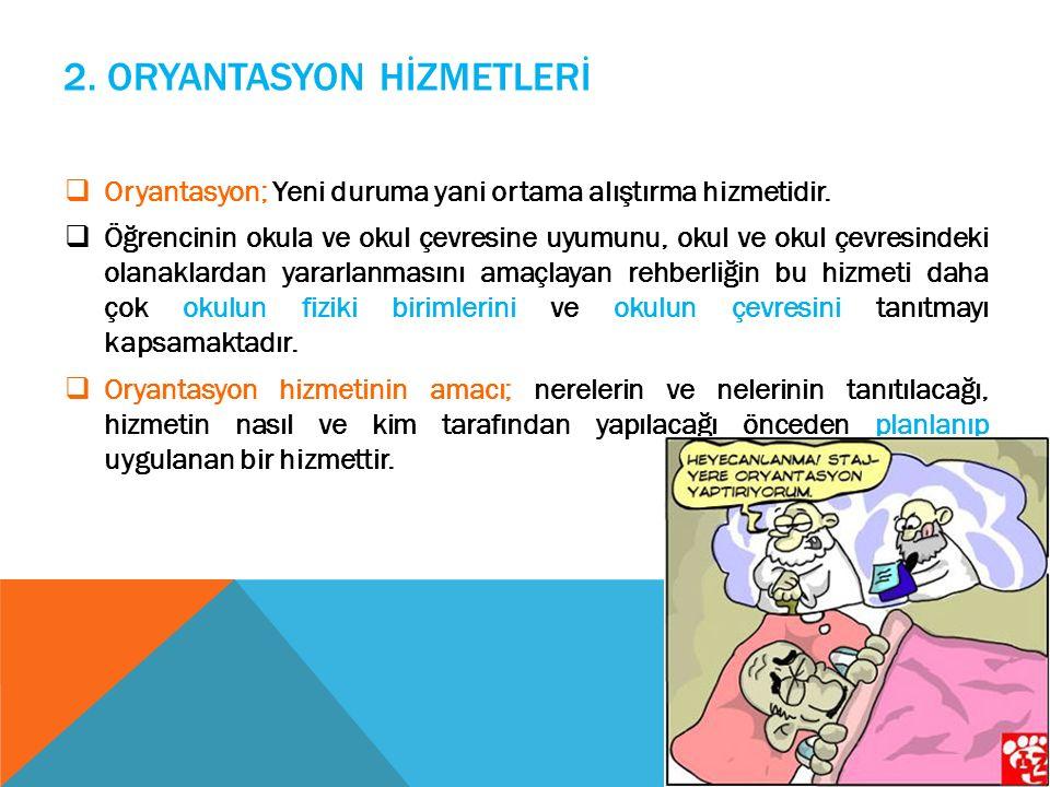 2.ORYANTASYON HİZMETLERİ  Oryantasyon; Yeni duruma yani ortama alıştırma hizmetidir.