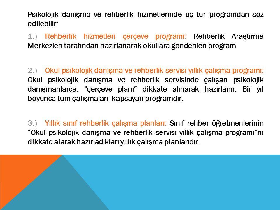 Psikolojik danışma ve rehberlik hizmetlerinde üç tür programdan söz edilebilir: 1.)Rehberlik hizmetleri çerçeve programı: Rehberlik Araştırma Merkezleri tarafından hazırlanarak okullara gönderilen program.