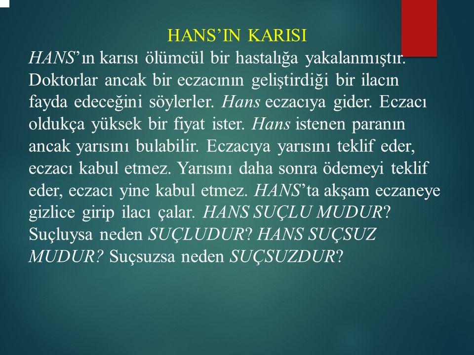 HANS'IN KARISI HANS'ın karısı ölümcül bir hastalığa yakalanmıştır.