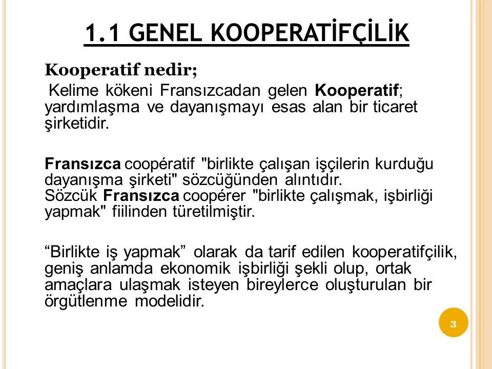 Ünite-1 KOOPERATİFÇİLİK NEDİR 1.1GENEL KOOPERATİFÇİLİK TANIMI 1.2KOOPERATİFÇİLİĞİN DOĞUŞU GELİŞİMİ 1.3KOOPERATİFÇİLİĞİN ULUSLAR ARASI KABUL GÖRMÜŞ İLKELERİ 2
