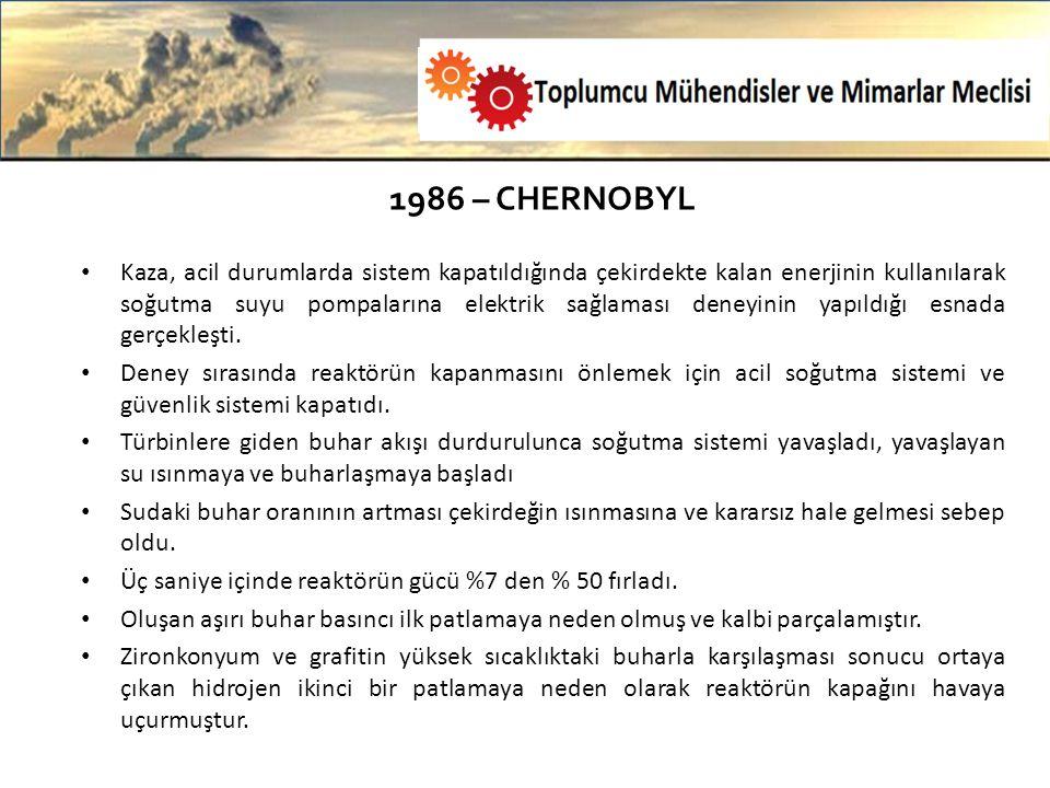 1986 – CHERNOBYL Kaza, acil durumlarda sistem kapatıldığında çekirdekte kalan enerjinin kullanılarak soğutma suyu pompalarına elektrik sağlaması deneyinin yapıldığı esnada gerçekleşti.