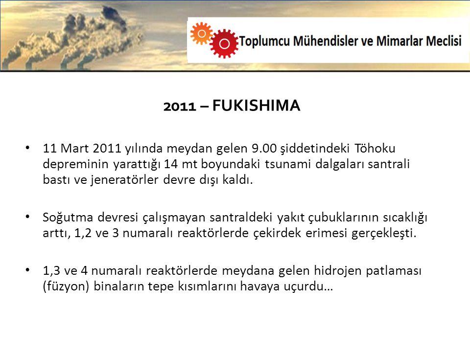2011 – FUKISHIMA 11 Mart 2011 yılında meydan gelen 9.00 şiddetindeki Töhoku depreminin yarattığı 14 mt boyundaki tsunami dalgaları santrali bastı ve jeneratörler devre dışı kaldı.