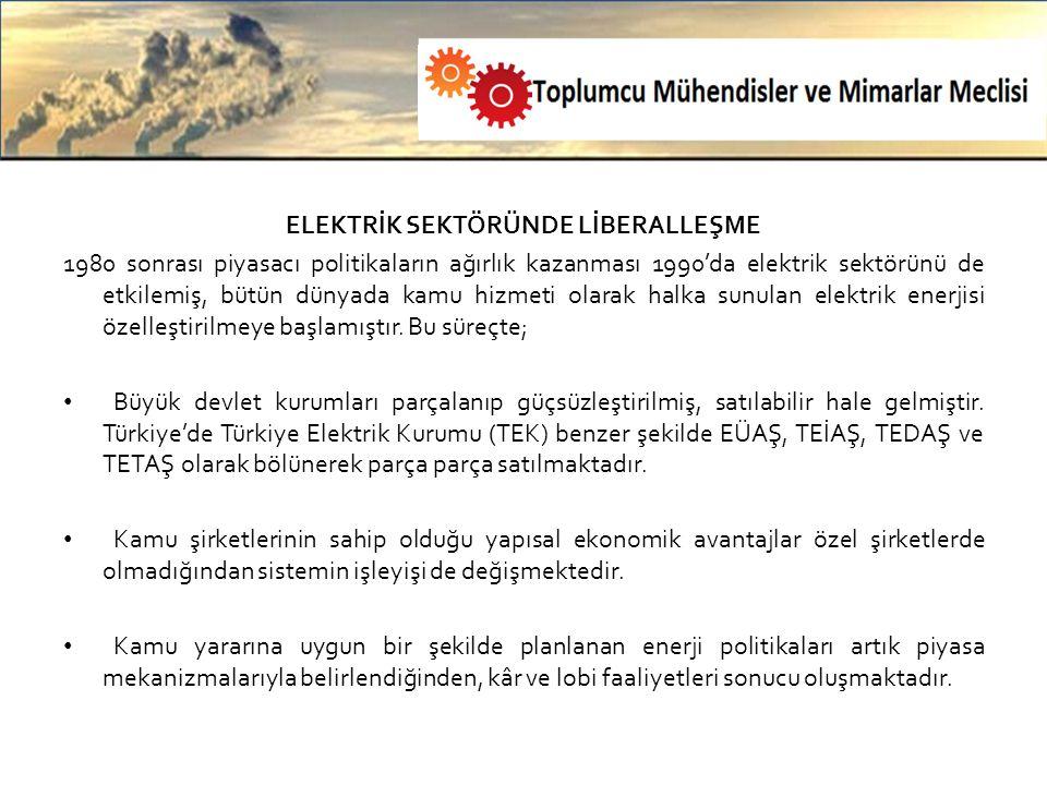 ELEKTRİK SEKTÖRÜNDE LİBERALLEŞME 1980 sonrası piyasacı politikaların ağırlık kazanması 1990'da elektrik sektörünü de etkilemiş, bütün dünyada kamu hizmeti olarak halka sunulan elektrik enerjisi özelleştirilmeye başlamıştır.