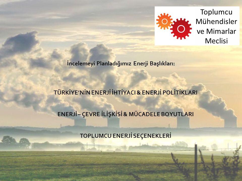 İncelemeyi Planladığımız Enerji Başlıkları: TÜRKİYE'NİN ENERJİ İHTİYACI & ENERJİ POLİTİKLARI ENERJİ – ÇEVRE İLİŞKİSİ & MÜCADELE BOYUTLARI TOPLUMCU ENERJİ SEÇENEKLERİ Toplumcu Mühendisler ve Mimarlar Meclisi