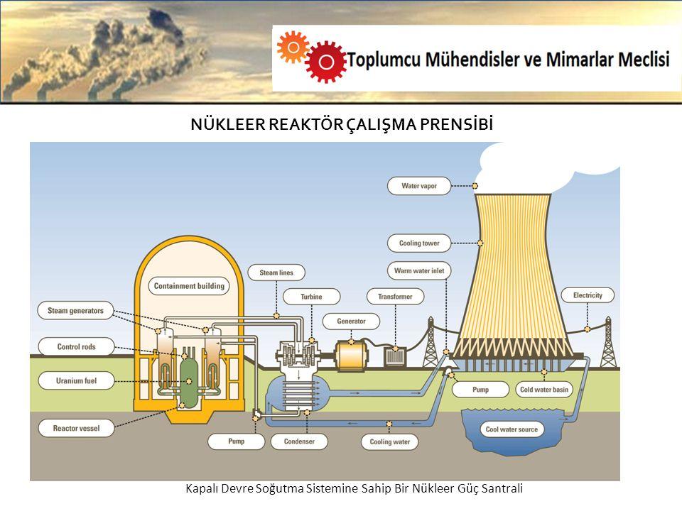 NÜKLEER REAKTÖR ÇALIŞMA PRENSİBİ Tek Yönlü Soğutma Sistemi-Kapalı Devre Soğutma Sistemi Tek Yönlü Soğutma Sistemine Sahip Bir Nükleer Santral