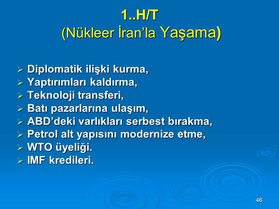 46 1..H/T (Nükleer İran'la Yaşama)  Diplomatik ilişki kurma,  Yaptırımları kaldırma,  Teknoloji transferi,  Batı pazarlarına ulaşım,  ABD'deki va