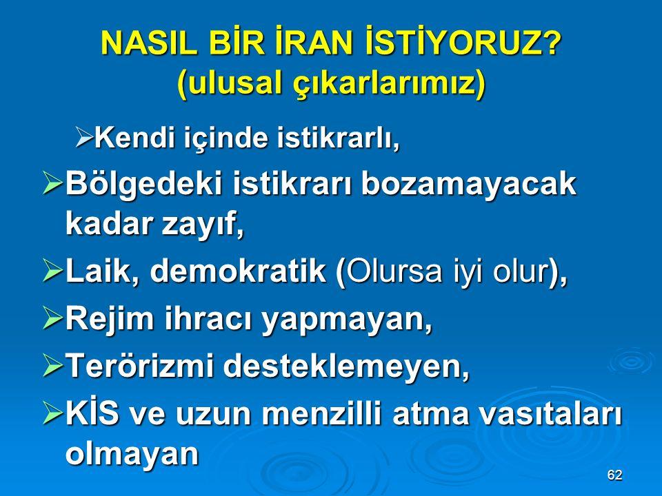 62 NASIL BİR İRAN İSTİYORUZ? (ulusal çıkarlarımız)  Kendi içinde istikrarlı,  Bölgedeki istikrarı bozamayacak kadar zayıf,  Laik, demokratik (Olurs