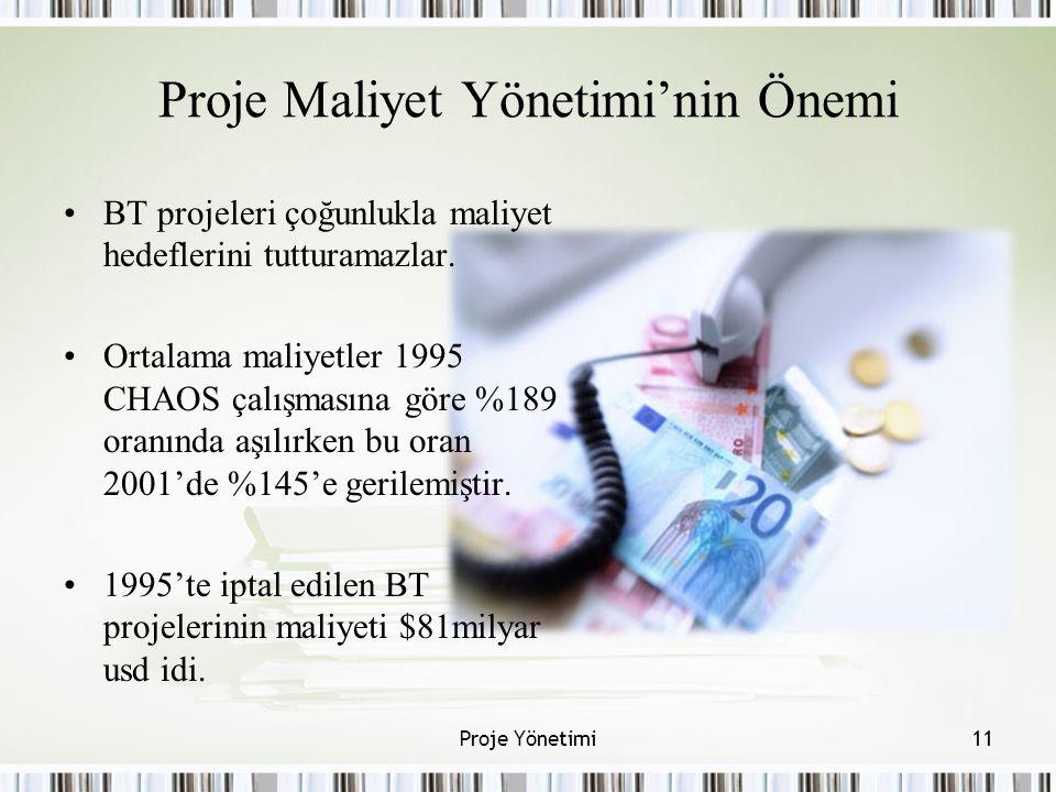 Proje Maliyet Yönetimi'nin Önemi BT projeleri çoğunlukla maliyet hedeflerini tutturamazlar. Ortalama maliyetler 1995 CHAOS çalışmasına göre %189 oranı