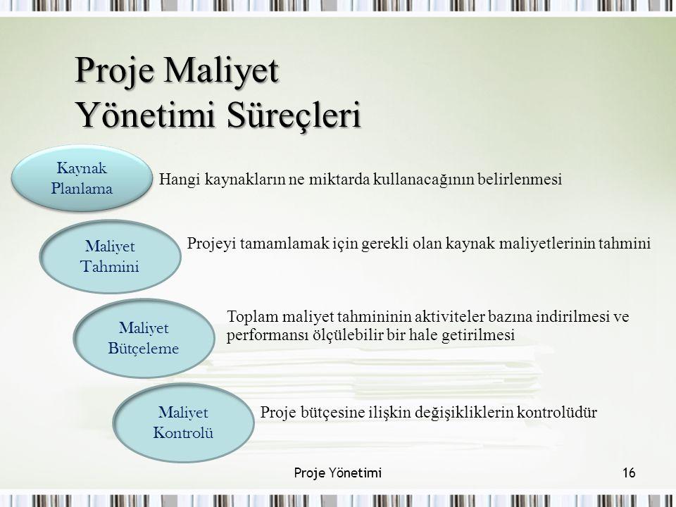 Proje Maliyet Yönetimi Süreçleri Kaynak Planlama Maliyet Tahmini Maliyet Bütçeleme Maliyet Kontrolü 16Proje Yönetimi Hangi kaynakların ne miktarda kul