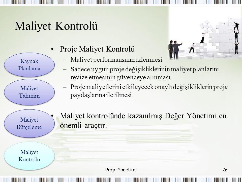Maliyet Kontrolü Proje Maliyet Kontrolü –Maliyet performansının izlenmesi –Sadece uygun proje değişikliklerinin maliyet planlarını revize etmesinin gü