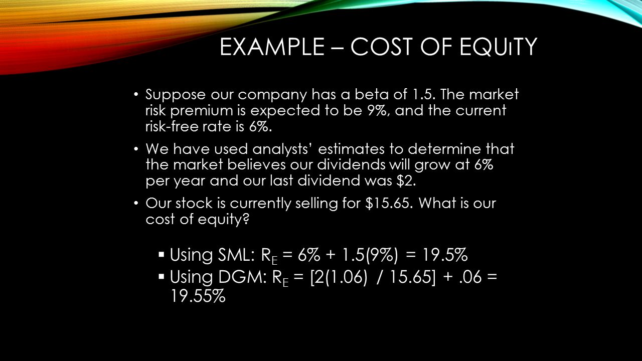 EXAMPLE – COST OF EQUıTY Suppose our company has a beta of 1.5. The market risk premium is expected to be 9%, and the current risk-free rate is 6%. We