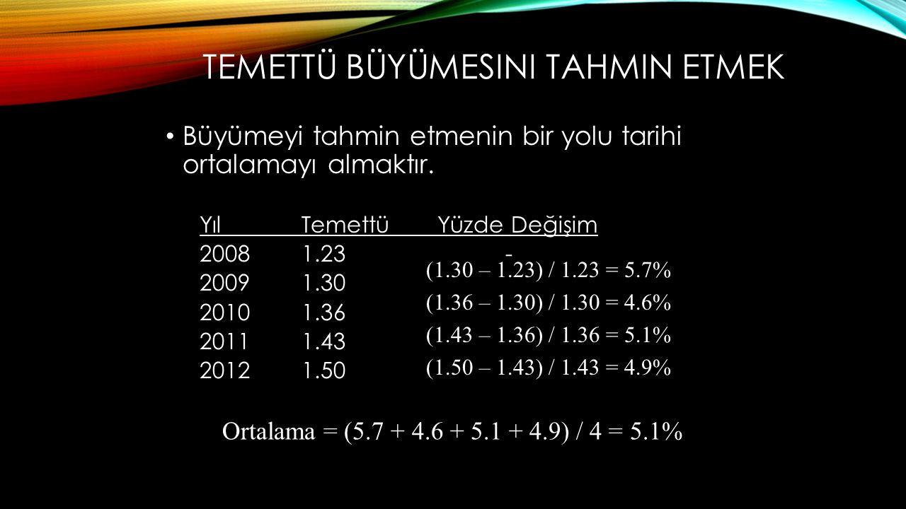 TEMETTÜ BÜYÜMESINI TAHMIN ETMEK Büyümeyi tahmin etmenin bir yolu tarihi ortalamayı almaktır. YılTemettüYüzde Değişim 20081.23- 20091.30 20101.36 20111