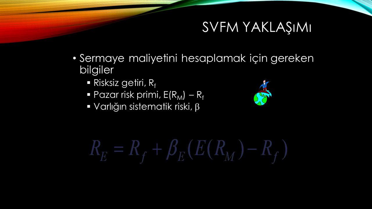SVFM YAKLAŞıMı Sermaye maliyetini hesaplamak için gereken bilgiler  Risksiz getiri, R f  Pazar risk primi, E(R M ) – R f  Varlığın sistematik riski, 