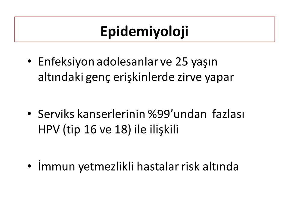 Epidemiyoloji Enfeksiyon adolesanlar ve 25 yaşın altındaki genç erişkinlerde zirve yapar Serviks kanserlerinin %99'undan fazlası HPV (tip 16 ve 18) ile ilişkili İmmun yetmezlikli hastalar risk altında