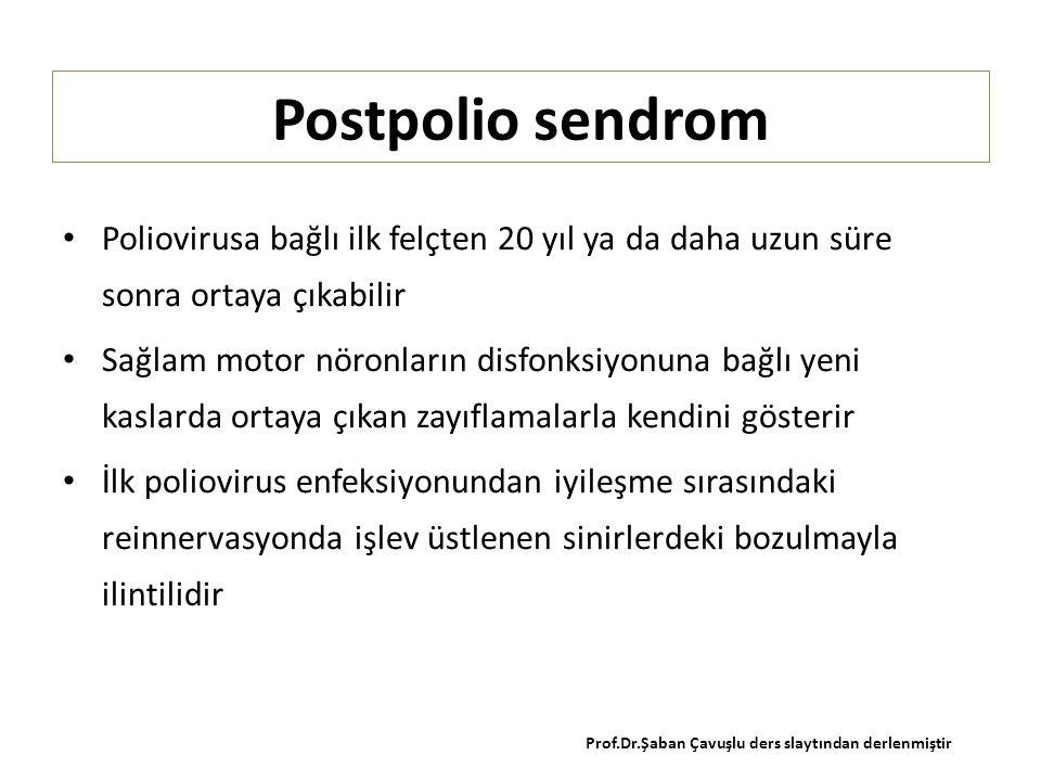 Postpolio sendrom Poliovirusa bağlı ilk felçten 20 yıl ya da daha uzun süre sonra ortaya çıkabilir Sağlam motor nöronların disfonksiyonuna bağlı yeni kaslarda ortaya çıkan zayıflamalarla kendini gösterir İlk poliovirus enfeksiyonundan iyileşme sırasındaki reinnervasyonda işlev üstlenen sinirlerdeki bozulmayla ilintilidir Prof.Dr.Şaban Çavuşlu ders slaytından derlenmiştir