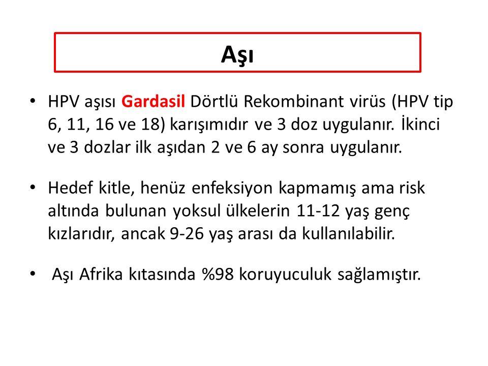Aşı HPV aşısı Gardasil Dörtlü Rekombinant virüs (HPV tip 6, 11, 16 ve 18) karışımıdır ve 3 doz uygulanır.