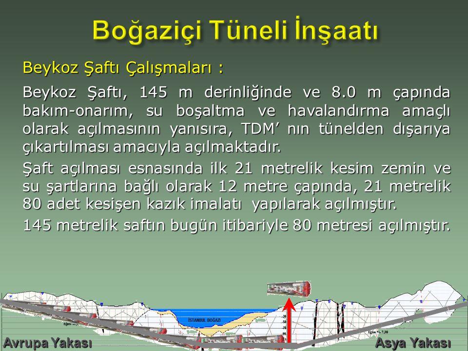 Beykoz Şaftı Çalışmaları : Beykoz Şaftı, 145 m derinliğinde ve 8.0 m çapında bakım-onarım, su boşaltma ve havalandırma amaçlı olarak açılmasının yanısıra, TDM' nın tünelden dışarıya çıkartılması amacıyla açılmaktadır.