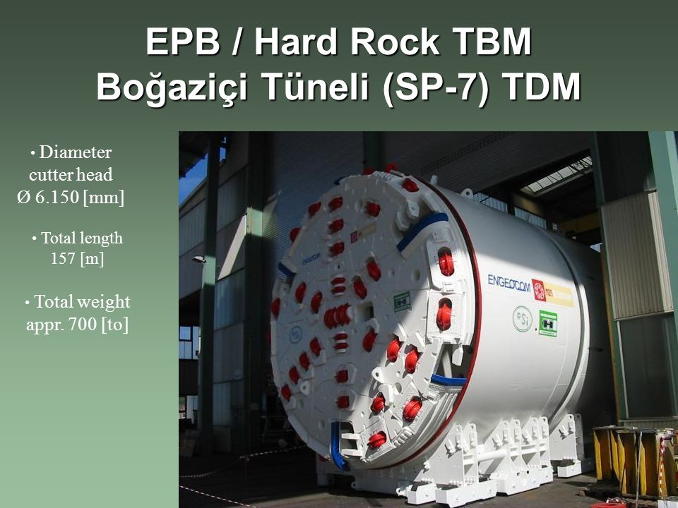 EPB / Hard Rock TBM Boğaziçi Tüneli (SP-7) TDM Diameter cutter head Ø 6.150 [mm] Total length 157 [m] Total weight appr.