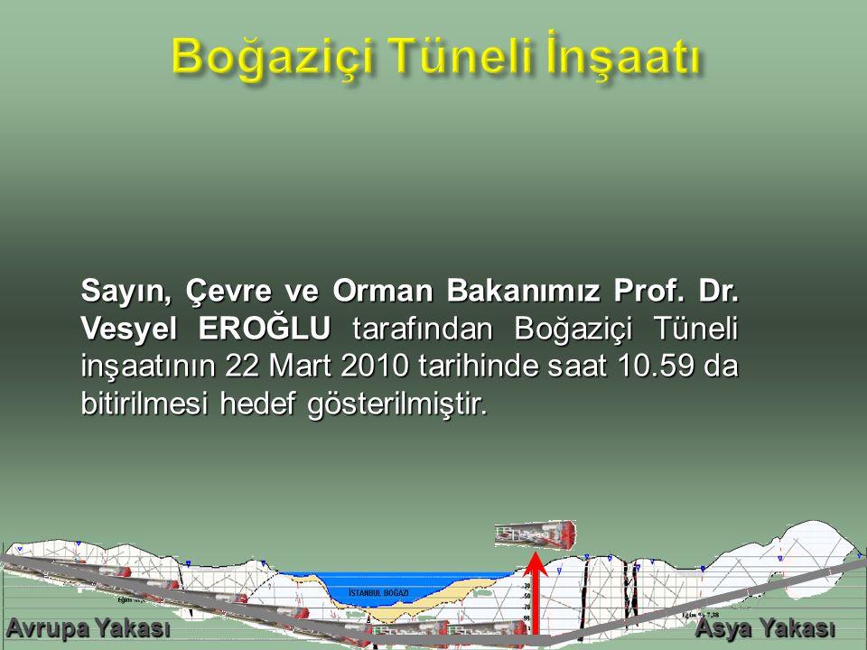 Sayın, Çevre ve Orman Bakanımız Prof. Dr. Vesyel EROĞLU tarafından Boğaziçi Tüneli inşaatının 22 Mart 2010 tarihinde saat 10.59 da bitirilmesi hedef g
