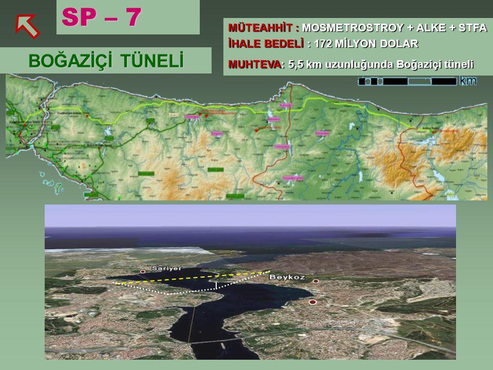 SP – 7 BOĞAZİÇİ TÜNELİ MÜTEAHHİT : MOSMETROSTROY + ALKE + STFA İHALE BEDELİ : 172 MİLYON DOLAR MUHTEVA: 5,5 km uzunluğunda Boğaziçi tüneli