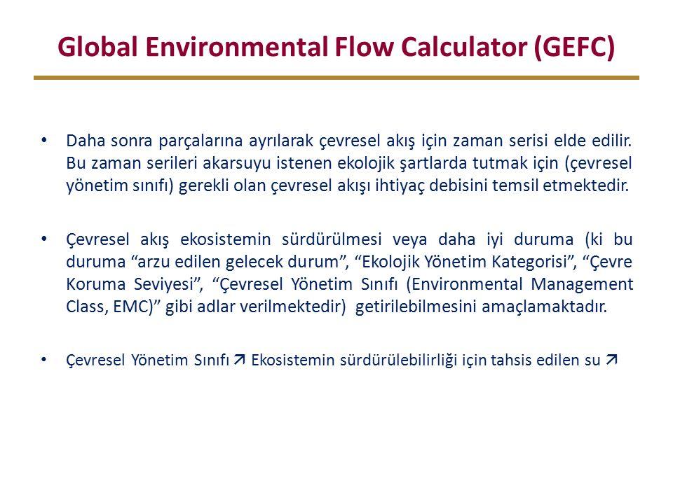 Global Environmental Flow Calculator (GEFC) Daha sonra parçalarına ayrılarak çevresel akış için zaman serisi elde edilir.