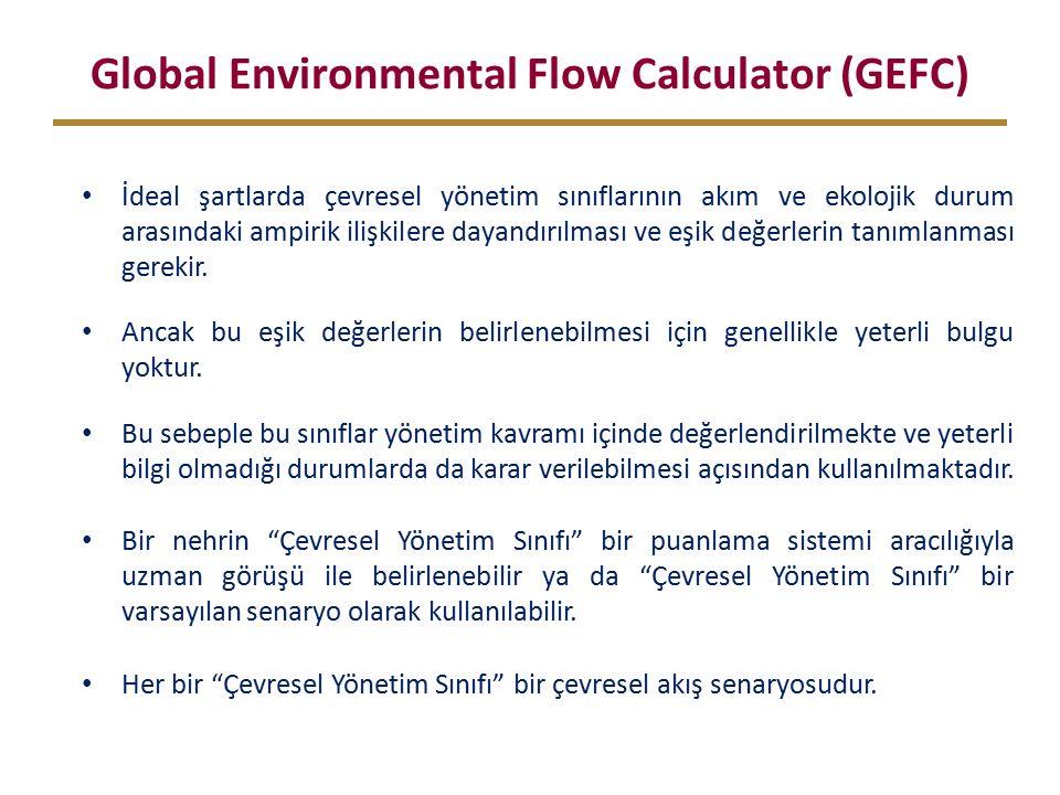 Global Environmental Flow Calculator (GEFC) İdeal şartlarda çevresel yönetim sınıflarının akım ve ekolojik durum arasındaki ampirik ilişkilere dayandırılması ve eşik değerlerin tanımlanması gerekir.