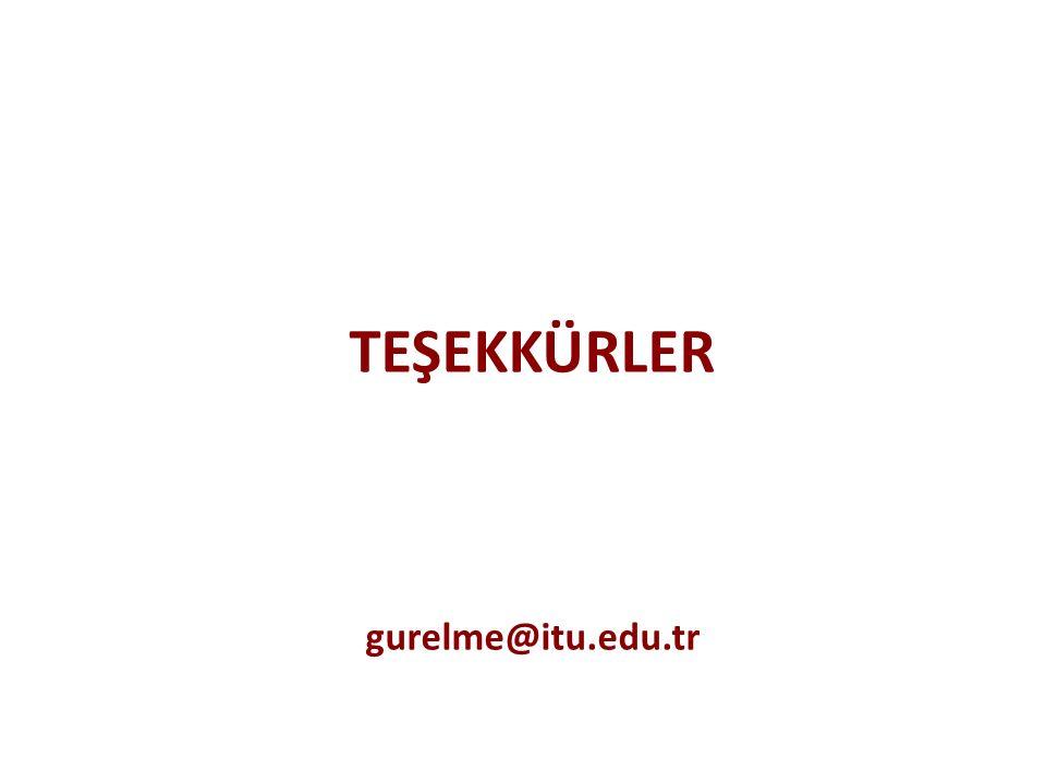 TEŞEKKÜRLER gurelme@itu.edu.tr