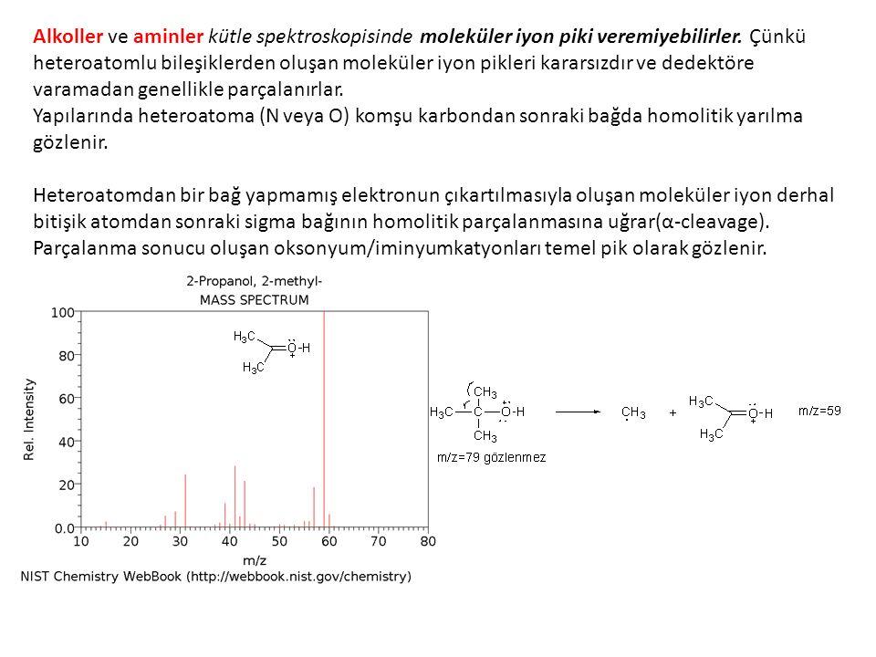 Alkoller ve aminler kütle spektroskopisinde moleküler iyon piki veremiyebilirler.