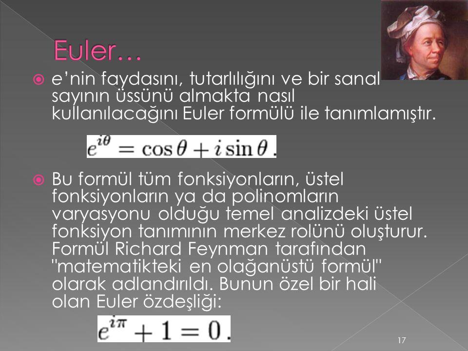  e'nin faydasını, tutarlılığını ve bir sanal sayının üssünü almakta nasıl kullanılacağını Euler formülü ile tanımlamıştır.