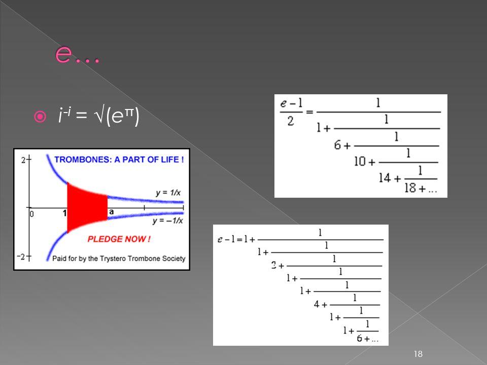  i -i = √(e π ) 18