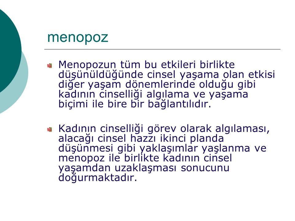 menopoz Menopozun tüm bu etkileri birlikte düşünüldüğünde cinsel yaşama olan etkisi diğer yaşam dönemlerinde olduğu gibi kadının cinselliği algılama ve yaşama biçimi ile bire bir bağlantılıdır.
