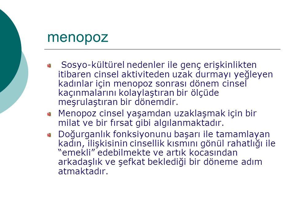 menopoz Sosyo-kültürel nedenler ile genç erişkinlikten itibaren cinsel aktiviteden uzak durmayı yeğleyen kadınlar için menopoz sonrası dönem cinsel kaçınmalarını kolaylaştıran bir ölçüde meşrulaştıran bir dönemdir.