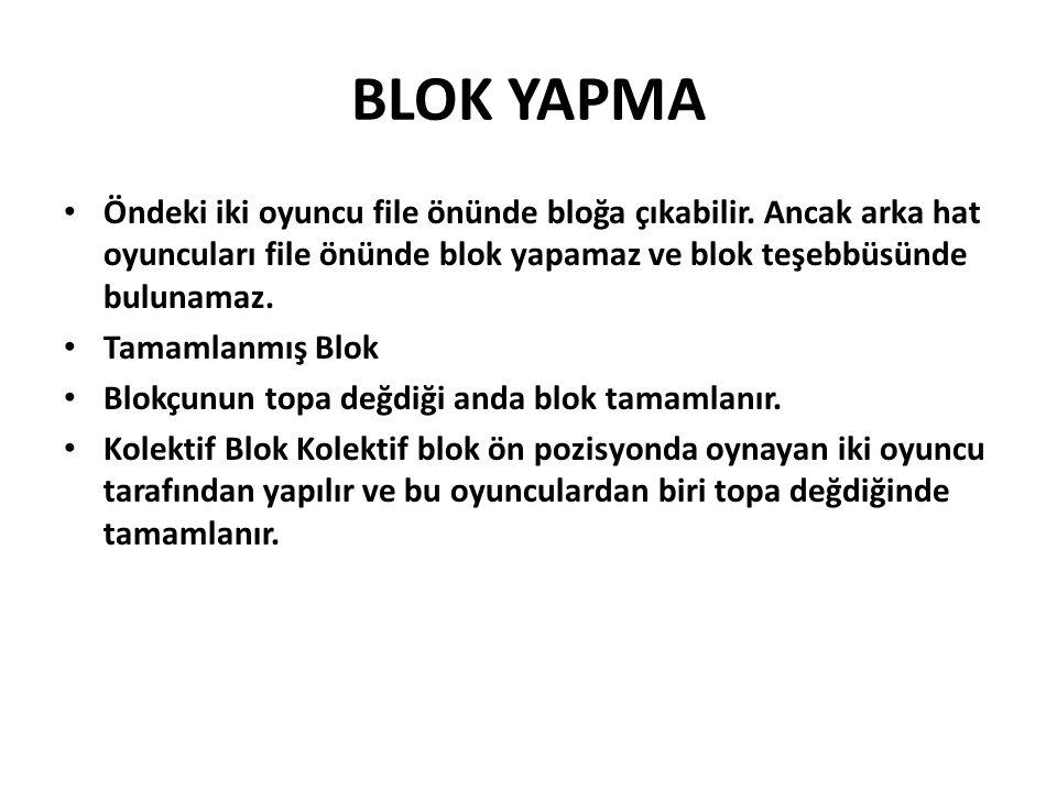 BLOK YAPMA Öndeki iki oyuncu file önünde bloğa çıkabilir.