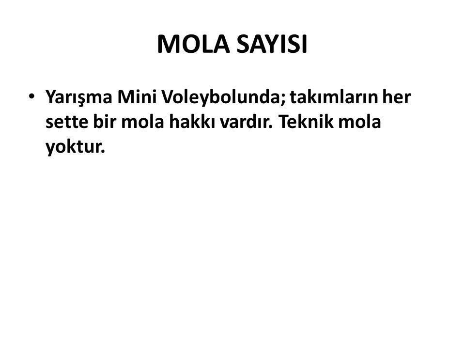MOLA SAYISI Yarışma Mini Voleybolunda; takımların her sette bir mola hakkı vardır.