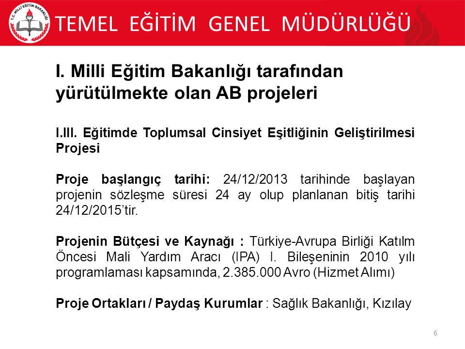 TEMEL EĞİTİM GENEL MÜDÜRLÜĞÜ 7 I.
