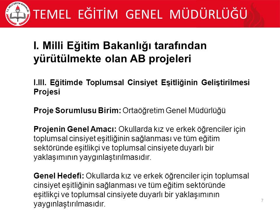 TEMEL EĞİTİM GENEL MÜDÜRLÜĞÜ 8 I.
