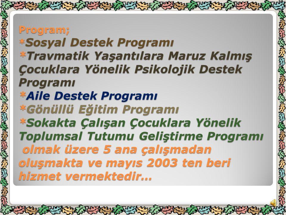 Program; * Sosyal Destek Programı *Travmatik Yaşantılara Maruz Kalmış Çocuklara Yönelik Psikolojik Destek Programı *Aile Destek Programı *Gönüllü Eğitim Programı *Sokakta Çalışan Çocuklara Yönelik Toplumsal Tutumu Geliştirme Programı olmak üzere 5 ana çalışmadan oluşmakta ve mayıs 2003 ten beri hizmet vermektedir…