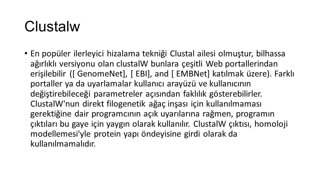 Clustalw En popüler ilerleyici hizalama tekniği Clustal ailesi olmuştur, bilhassa ağırlıklı versiyonu olan clustalW bunlara çeşitli Web portallerindan