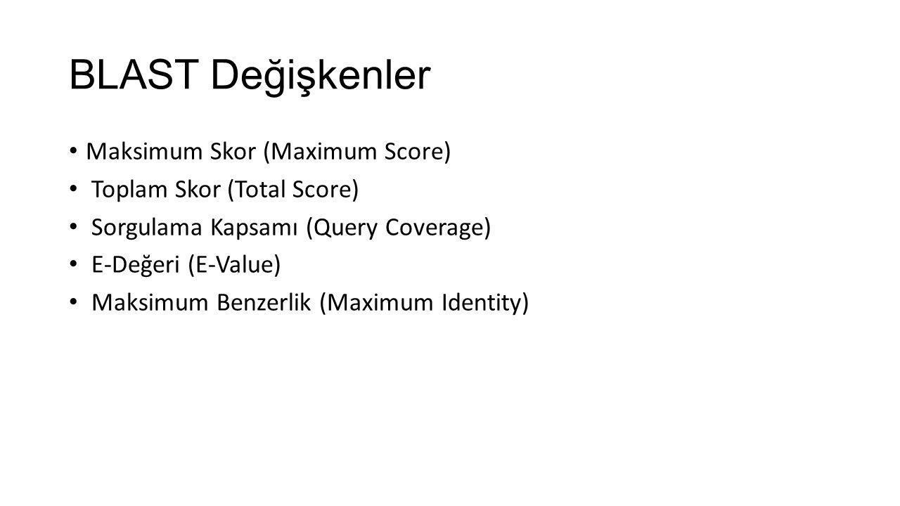BLAST Değişkenler Maksimum Skor (Maximum Score) Toplam Skor (Total Score) Sorgulama Kapsamı (Query Coverage) E‐Değeri (E‐Value) Maksimum Benzerlik (Ma